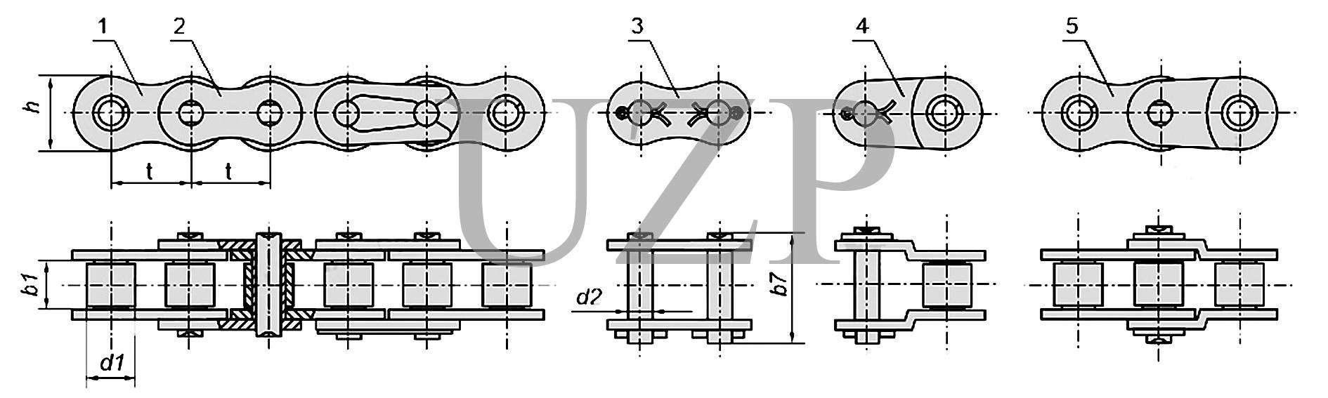 Конструкция приводной роликовой однорядной цепи (ПР)