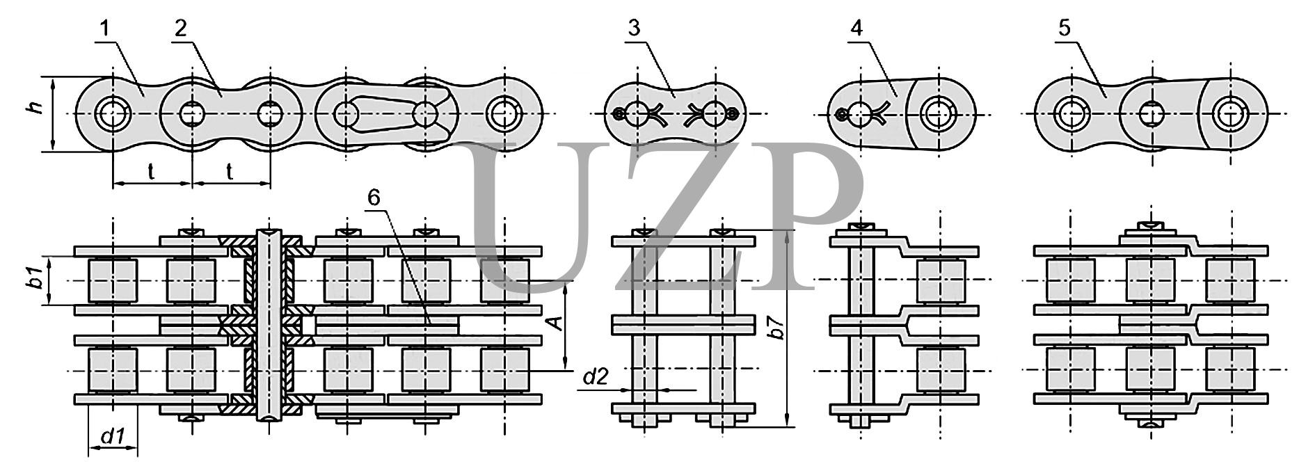 Конструкция приводной роликовой двухрядной цепи (2ПР)