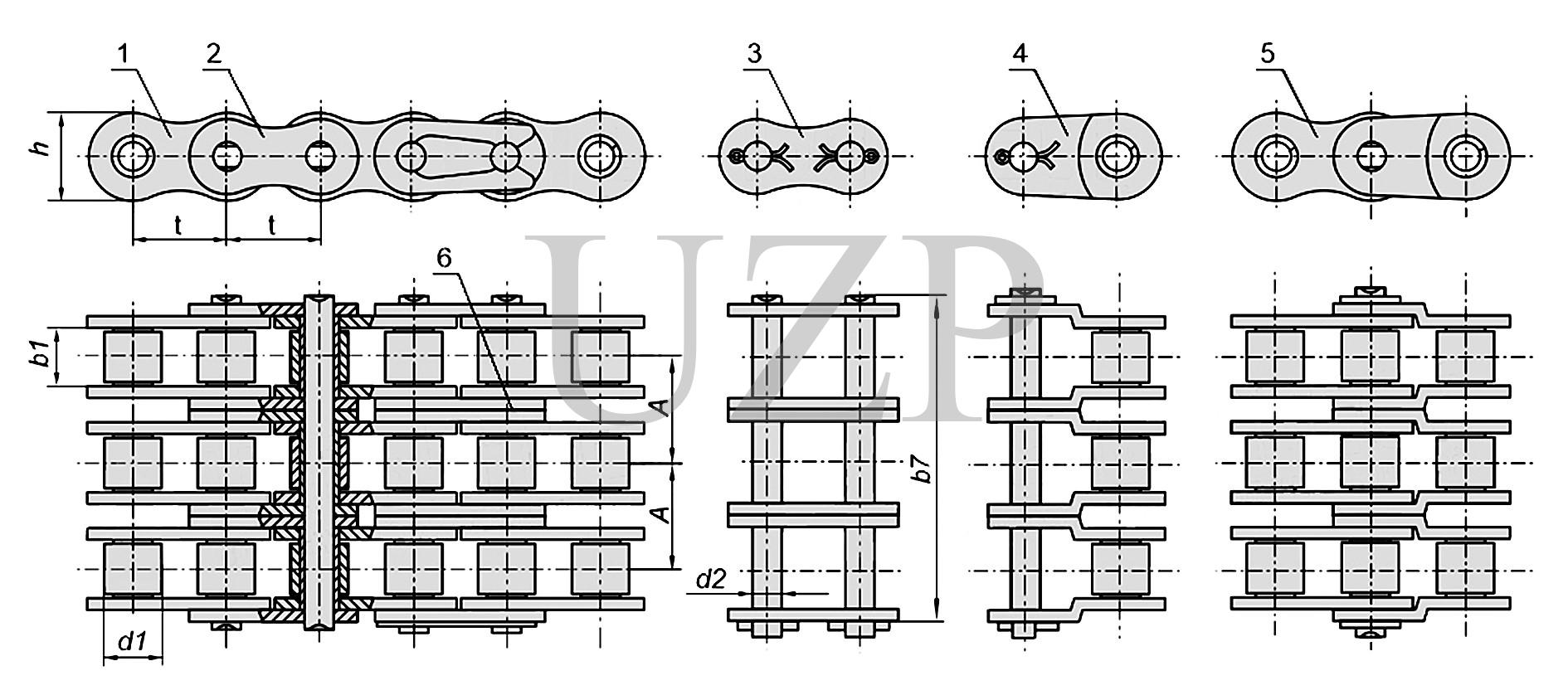 Конструкция приводной роликовой трехрядной цепи (3ПР)
