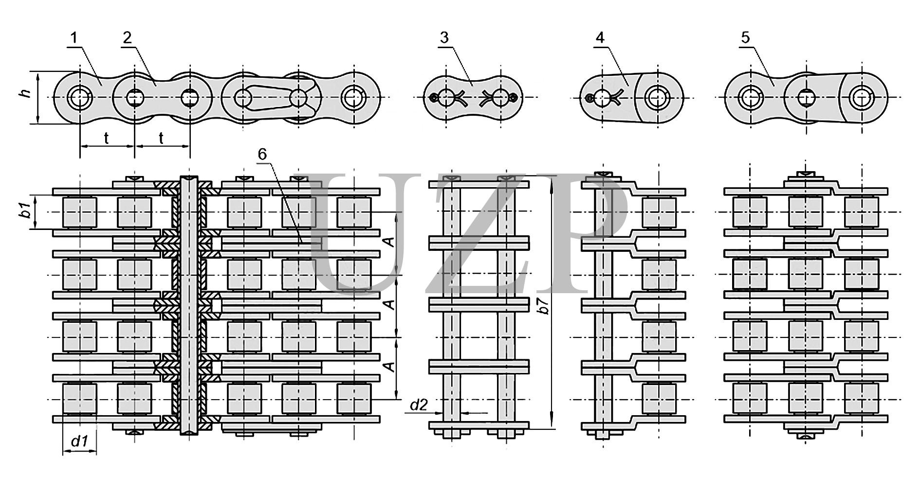Конструкция приводной роликовой четырехрядной цепи (4ПР)