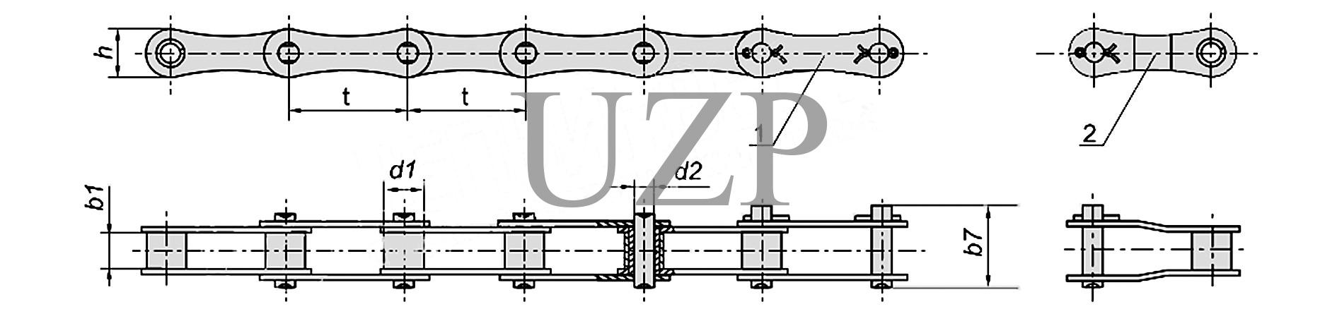 Конструкция приводной роликовой длиннозвенной цепи (ПРД)