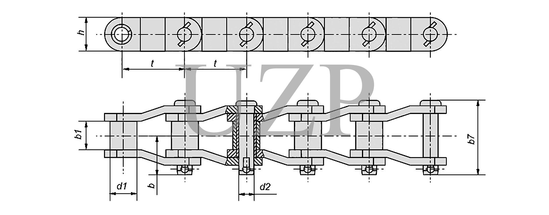 Конструкция приводной роликовой цепи с изогнутыми пластинами (ПРИ)